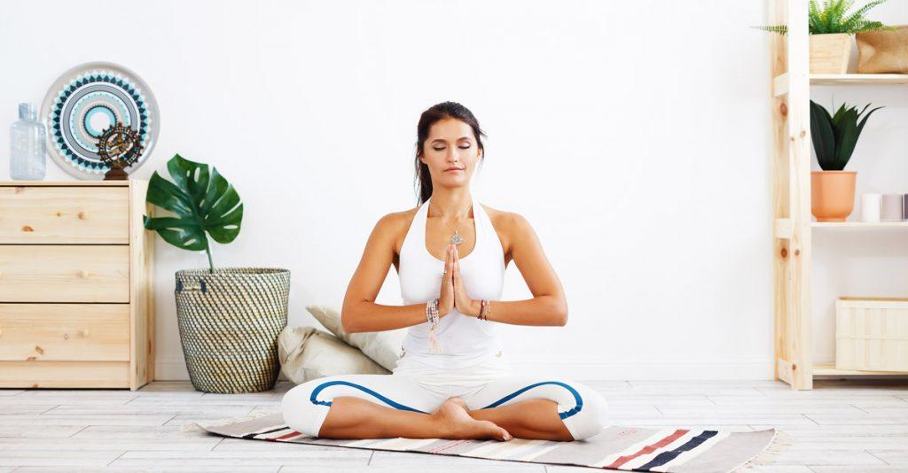 espace de yoga aménagé